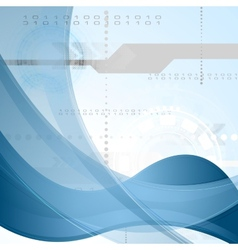 Technology background with blue waves vector image