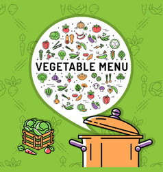 vegetable menu card vegetables thin line icons vector image