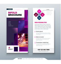 Violet dl flyer design with square shapes vector