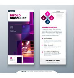 violet dl flyer design with square shapes vector image