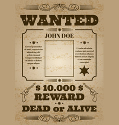 wanted dead or alive western old vintage vector image