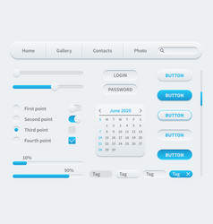 white interface elements universal ui template vector image