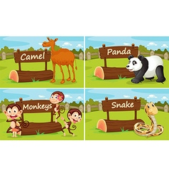 Wild animals by the wooden sign vector