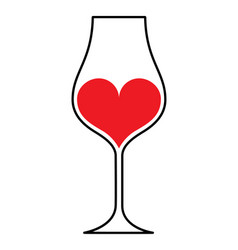 Wineglass heart vector