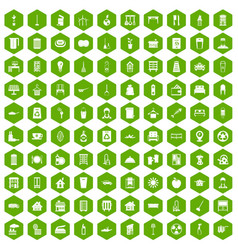 100 cleaning icons hexagon green vector image