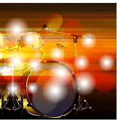 abstract grunge background with drum kit vector image