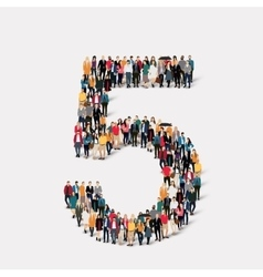 people form number five vector image