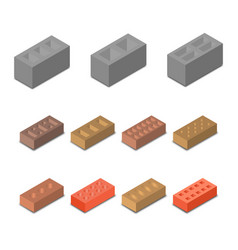 set isometric icon construction materials vector image vector image