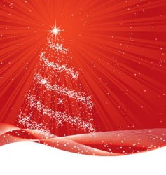 shiny red christmas tree vector image vector image