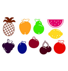 flat design fruits and berries icon set vector image