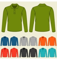 Set of colored polo t-shirts templates for men vector image