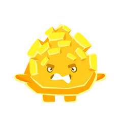 cute yellow crystal stone with vexed face cartoon vector image vector image
