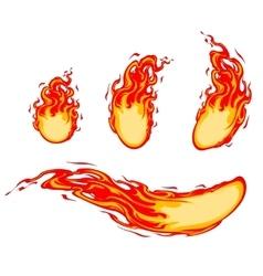 Fireballs and comets set vector image
