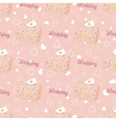 Pink wedding seamless pattern with chest vector