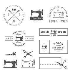 Set of vintage tailor design elements vector image vector image