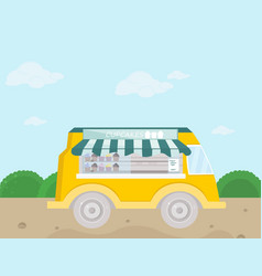 bakery bus fresh cupcakes and vector image