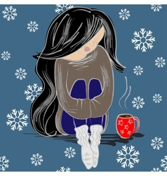 Girl With Coffee Cup vector image