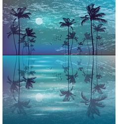 Palm trees in moonlight vector image vector image