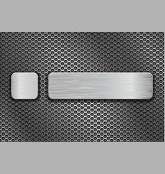 silvered glass buttons on metal perforated vector image vector image