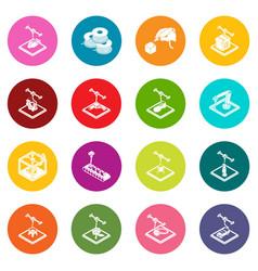 3d printing icons set colorful circles vector image