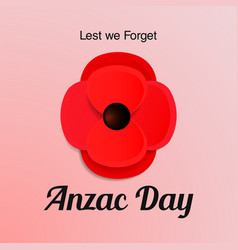 Anzac day card paper cut red poppy flower vector