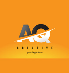Aq a q letter modern logo design with yellow vector