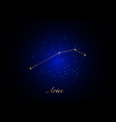 Aries zodiac constellations sign on starry sky vector