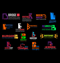 b letter brand business corporate identity icons vector image