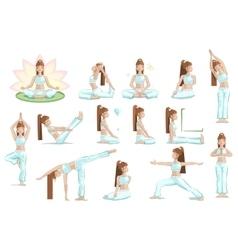 big set yoga female pose vector image