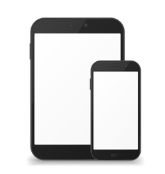 Black mobile phone and tablet with blank screen vector image