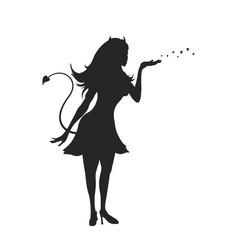 Black silhouette devil girl halloween party vector