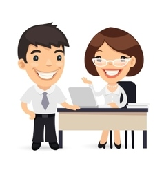 Boss and Secretary Planning Business Day vector