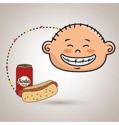 Boy fast food vector