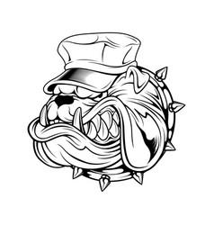 bulldog wearing hat hand drawing vector image