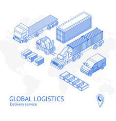 cargo delivery transport in icons vector image