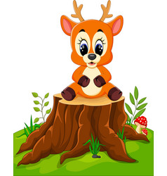 Cartoon deer posing on tree stump vector