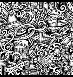 Cartoon hand-drawn doodles oktoberfest seamless vector