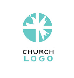 Christian church logo with dove and cross vector