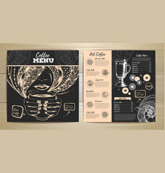 Coffee menu design sketch of cup of coffee vector