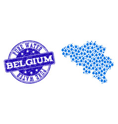 Collage map of belgium with water tears and grunge vector