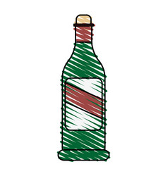 Color crayon stripe cartoon glass bottle of wine vector