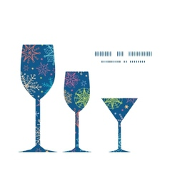colorful doodle snowflakes three wine glasses vector image