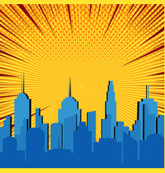Comic blue cityscape explosive template vector