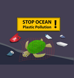 corpse turtle at beach pollution with oil and junk vector image