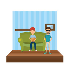 couple of men sitting in the sofa vector image