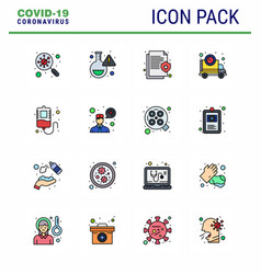 covid19-19 icon set for infographic 16 flat color vector image