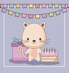 Cute cat happy birthday card with cake and set vector