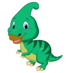 Cute dinosaur parasaurolophus cartoon vector