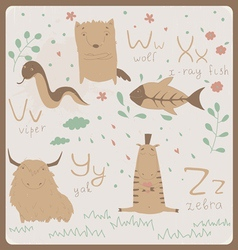 Cute zoo alphabet vector image