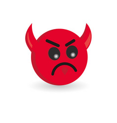 devil emoticon isolated on white background vector image